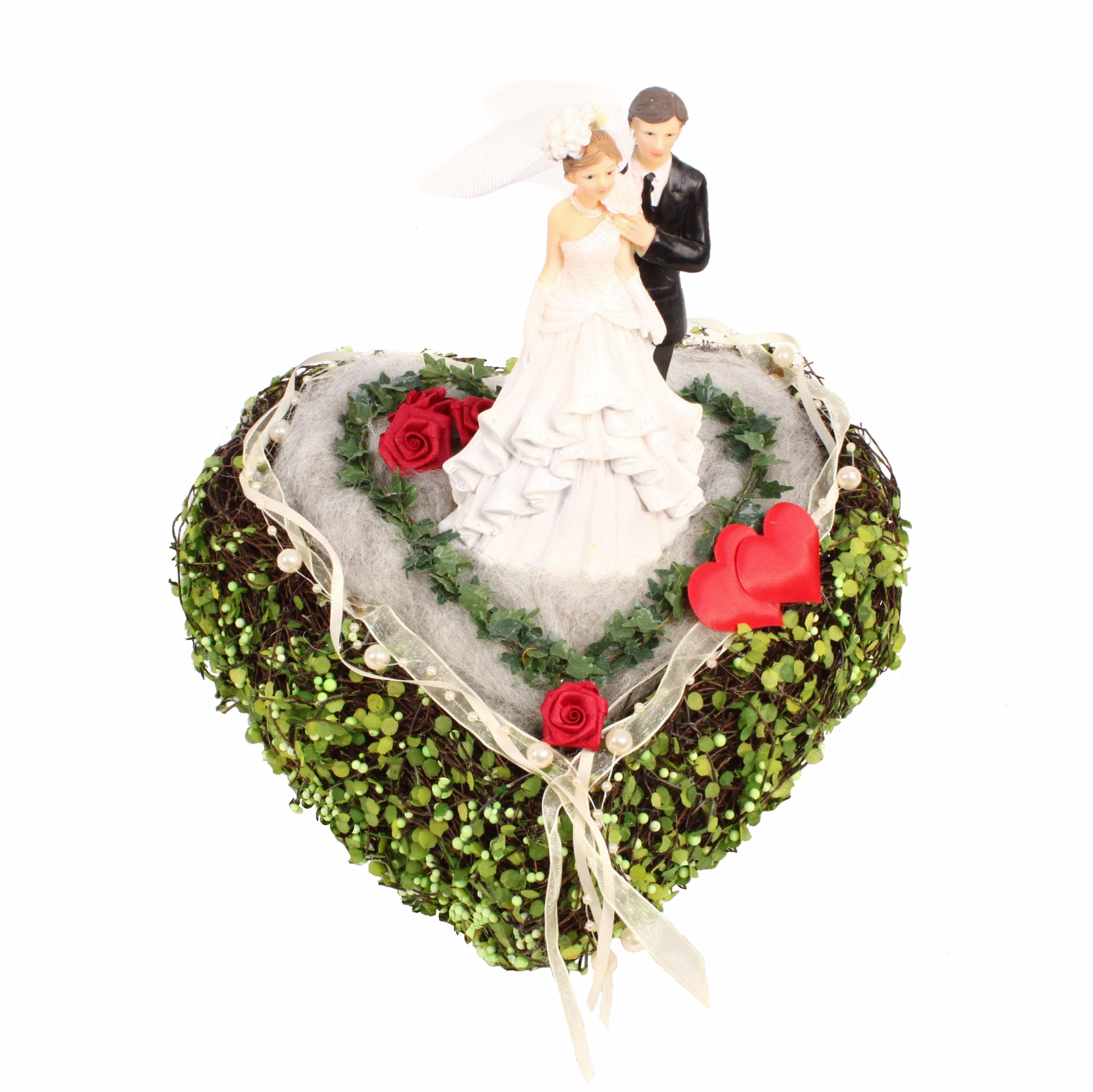 Rebenherz 25 cm Hochzeit Frühling Tischdeko mit Brautpaar