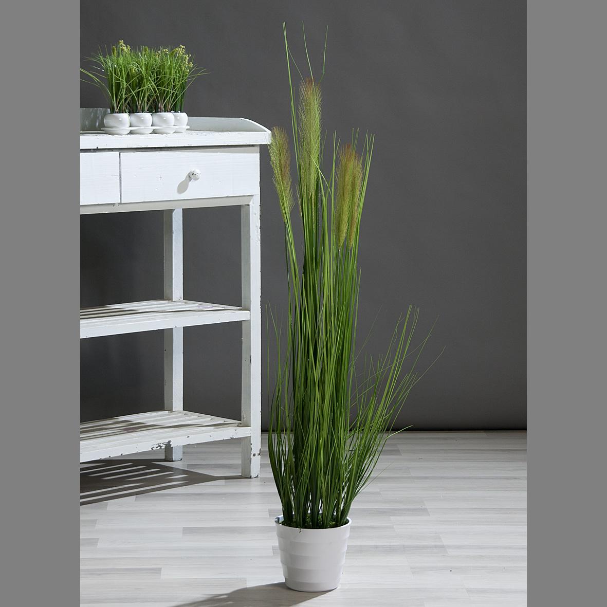 Grasarrangement mit 5 Blütenwedeln Kunstpflanze grün Höhe 115cm