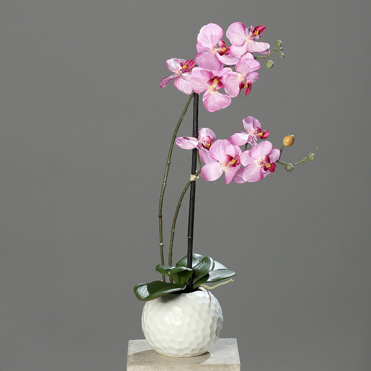 Orchidee in Kugelvase Keramik Kunstpflanze 2 Rispen pink 55cm
